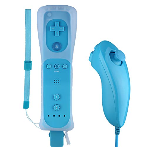 Wii Controller, PowerLead Built-in Motion Plus Remote and Nunchuck Controller for Nintendo Wii + Silicon Case Blue