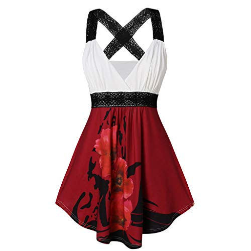 - Womens Sexy Floral Print Wrap Dress,Sleeveless Vest Lace Strappy Patchwork Back Criss Cross Swing Party Dresses Wine Red