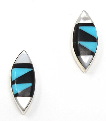- Zuni Multi-Color Inlay Stud Earrings By Martinez 5/8
