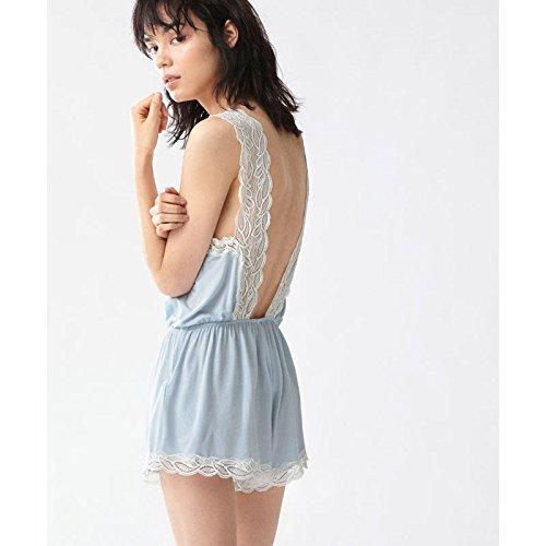 ZHFC-De encaje sin mangas Jumpsuit hoja casa señoras pijama verano pantalones cortos El cielo es azul