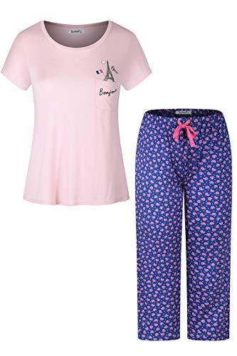 (SofiePJ Women's Rayon Chest Pocket Top with Capri Pants Pajama Set Pink Purple L)
