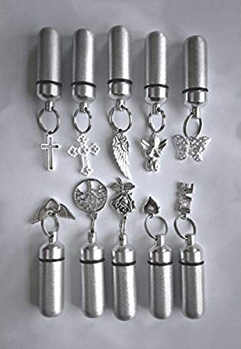 Pasco Specialty Products New Special Family Assortment of Ten Brushed Silver Cremation URNS Including 10 Velvet Pouches, 10 Ball-Chain Necklaces & Fill Kit - Made in The USA ()