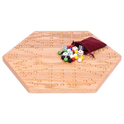AmishToyBox.com Solid Oak Wooden Double-Sided Aggravation (Wahoo) Marble Game Board Set, 16