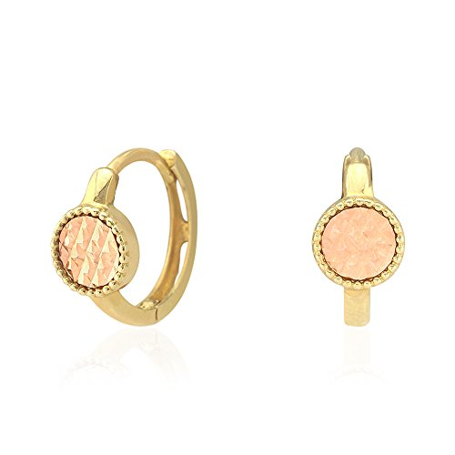 14k Yellow & Rose Gold Diamond Cut Circle Milgrain Huggie Hoop Earrings