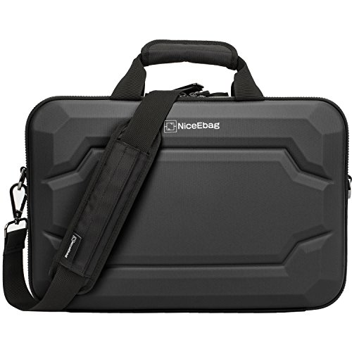 NiceEbag Rugged Armor Laptop Briefcase Messenger Bag with Rainproof Resilient Shock Absorption and EVA Design for MacBook/Dell / Lenovo/Men Women with Shoulder Strap (17.3 Inches, Black)