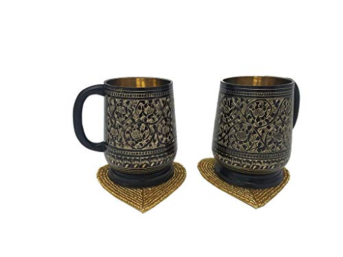 Buddha4all Unique Look Tankard Handmade 100% Pure Brass Beer Stein Antique Moscow Mule Mug 18 oz Beer Mug With Handmade Heart Shape Beaded Coasters Set Of 2 (Golden) ()
