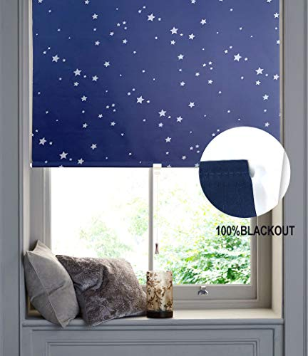 "BERYHOME Glowing Stars Cordless Blackout Light Filtering Roller Shades/Blinds,Enery Saving Window Shades Blinds.Ideal for Bedroom,Shine in Dark.Kid's Room Window Décor (37""x68"", Navy)"