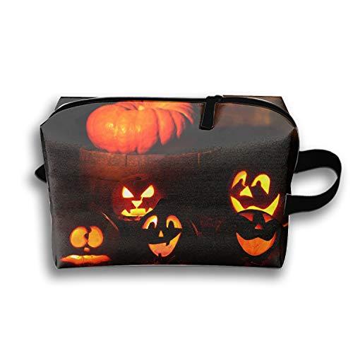 Cosmetic Bag Zipper Storage Bag Portable Ladies Travel Lighted Halloween Pumpkins Makeup Bag ()