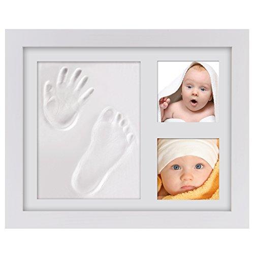 Geschenke für Babyandenken, PChero Rahmenset für Babyhand- und Fußabdrücke mit sicherem Akrylglas und Ton - Weiß