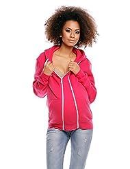 Zeta Ville - Womens Pregnancy Hooded Sweatshirt Removable Panel Pockets - 355c