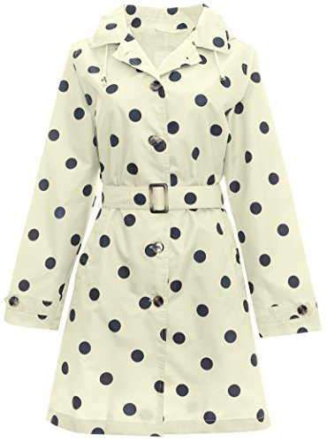 Capelli New York Ladies Mid Length Spotted Trench Rain Coat Natural Combo Large