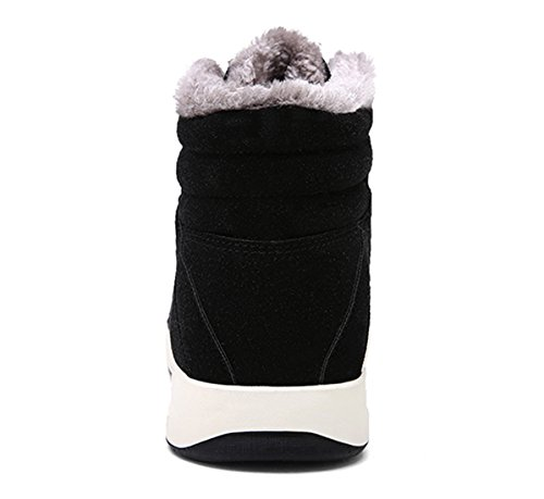 Santimon Winter Sneakers Herren Wildleder Warm Gefütterte Winterstiefel Outdoor Schneestiefel Winterschuhe mit Kunstpelz Schwarz