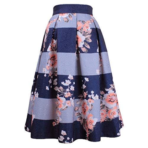 Crazy, Dress for Women,Wedding Dress,Summer Skirt A Line Skirt,Women's Striped Print High Waist Flared Pleated Midi Skirt Blue