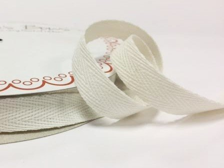 Bertie's Bows 15mm Ivory Cotton Herringbone Tape/Webbing on a 4m Length (N.B. this is a cut from a roll, presented on a Bertie's Bows card) Bertie's Bows