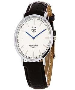 Trendy Kiss classic mens quartz watch with leather strap black TCCC102503