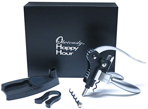 Obviously Happy Hour Wine Opener (rabbit style). Boxed Set includes FREE Bar Style Bottle Opener, OHH Time Appointment Cards, stand, foil cutter, extra cork pull, foil stamped box inside a sturdy box.
