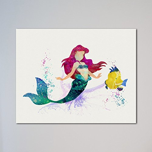 The Little Mermaid Ariel and Flounder 11 x 14 inches Print