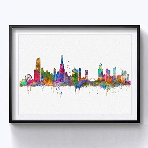 Chicago Skyline City Chicago Watercolor Art Print Chicago Wall Print Poster Painting Home Decor Chicago Wall Hanging Map Skyline 8x10inch No Frame