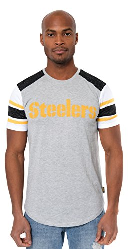 NFL Men's Pittsburgh Steelers T-Shirt Varsity Stripe Short Sleeve Tee Shirt, Small, Gray Pittsburgh Steelers Stripe