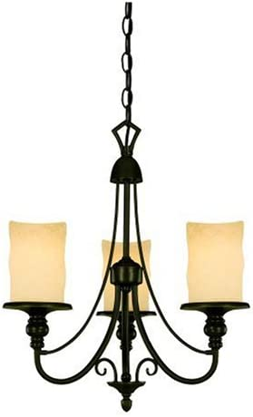 Westinghouse Lighting 69000 Hearthstone Three-Light Chandelier, Burnished Bronze Patina Finish with Burnt Scavo Globe