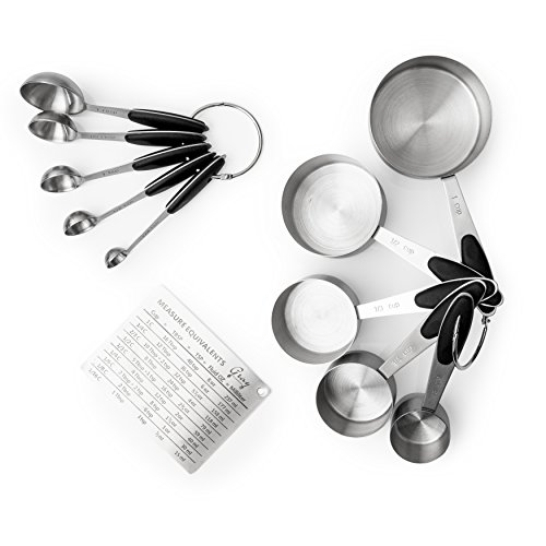 - Gray Essentials - 10 Piece Stainless Steel Measuring Cups and Spoons Set with Measurement Conversion Magnet - Kitchen Utensil Set for Baking