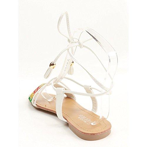 Sandales plates femme blanches à lacets bride coloré pailleté & pampilles-37