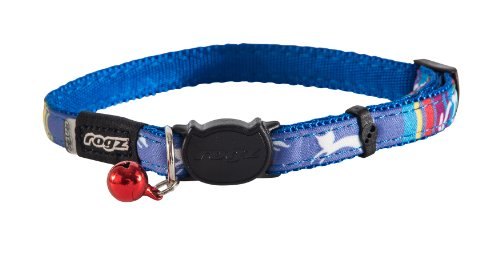 "Rogz Catz NeoCat Small 1/8"" Breakaway Cat Collar, Blue Candy Stripes Design"