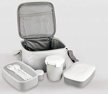 Life Style - Bolsa Térmica Porta Alimentos - 4 Recipientes más Cubiertos - Blanca