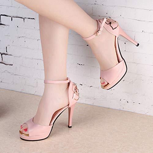 Da One Sexy Donna Calcio Grandi Clearance Dimensioni Rosa Pantofole Shoes Ballo Scarpe Toe Round Zeppa Singole Word Antiscivolo Sunnywill Buckle Nero Alto Allarga Tacco 78qdROXxn8