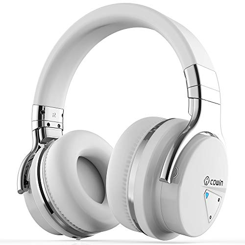 e Cancelling Bluetooth Headphones with Microphone Wireless Headphones Over Ear, 30H Playtime for Travel Work TV Computer Cellphone - White ()