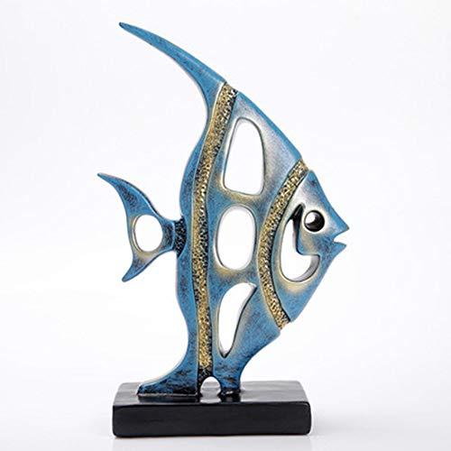 LMNZM Fish Sculpture Animal Statue, Creative Minimalism European Fashion Ornament Stand Handmade Sculpture Statue Decoration Animal Home Office Decoration (Fish Abstract Sculpture)