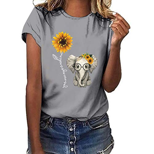 Sunflower Print Clothes Women,Londony❀ Summer Short Sleeve Loose