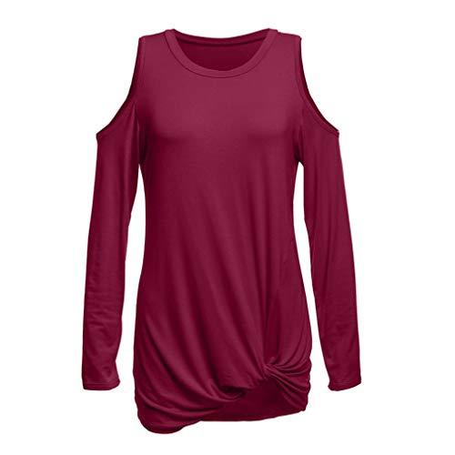 Tunique Plisse Femme T Manches Femme Tops T Neck Femmes paule Haut Shirt V Covermason Shirt Longues Noue Vin Chemisier T Shirt 8x4qwAUx