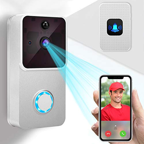 Video Doorbell 1080P HD Doorbell Camera/2 Rechargeable Battery/Indoor Chime/16GB Micro SD Card/Night Vision/Two-Way Audio/166° Wide Angel/PIR Motion Detection for iOS & Android ()