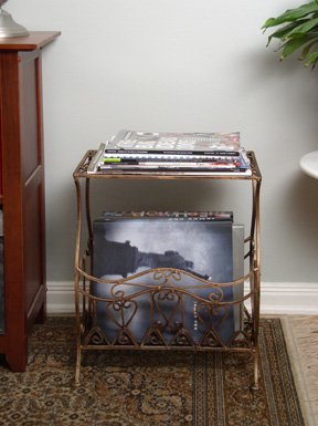 - Dark Brown Wrought Iron Magazine Table