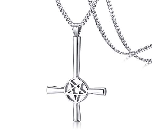 (PJ Jewelry Inverted Pentagram Cross Necklace Stainless Steel Upside Down Lucifer Satan Satanic Symbol Pendant)