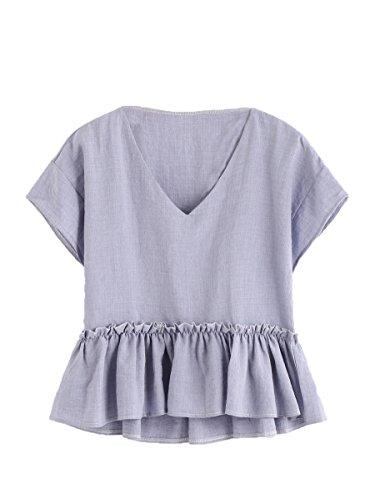 Floerns Womens Short Sleeve Contrast Print Frill Hem Blouse Top