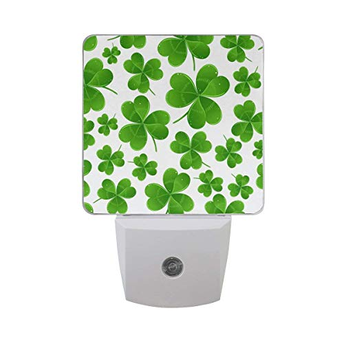 xiaodengyeluwd 2 Pack Led Night Light St. Patrick Day Irish Shamrock Clover, Auto Senor Dusk to Dawn Night Light Plug in for Kids Baby Girls Boys Adults Room]()
