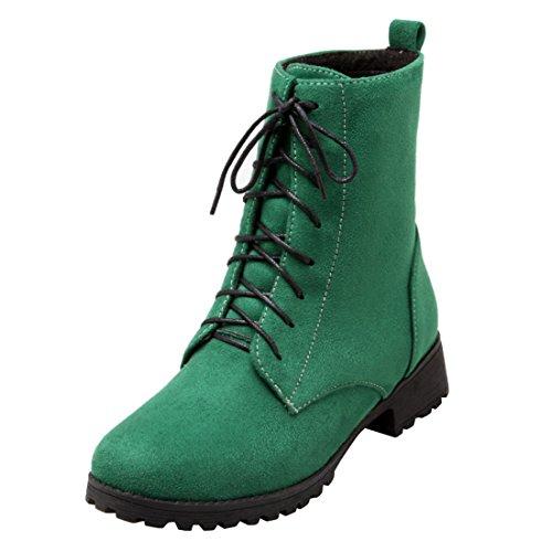 YE Damen Blockabsatz Ankle Boots Gefütterte Stiefeletten mit Schnürsenkel und Fell Bequem Simple Warm Winter Schuhe Grün
