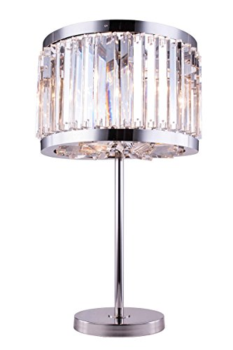 Elegant Lighting Chelsea Collection 4-Light Table Lamp with Royal Cut Crystals, Polished Nickel - Crystal Lamp Chelsea Table