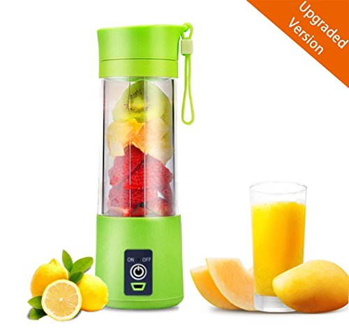 USB Juicer Cup, Fruit Mixing Machine, Portable Personal Size Eletric Rechargeable Mixer, Blender, Water Bottle 400ml with USB Charger Cable Portable Juice Blender and Mixer (Green)