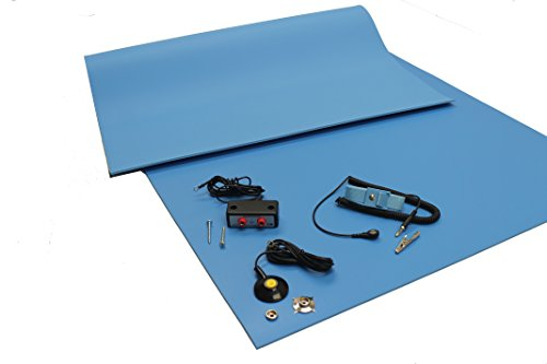 (ESD Mat Kit with a Wrist Strap and Grounding Cord, Dual Bench Grounding, Three Layer Vinyl, 24