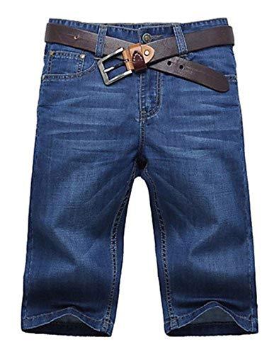 Uomo Pantaloni Con Unita Shorts T Bermuda Fashion Dritti Giovane shirt Vintage Micro Da Jeans Leisure Elasticizzati Blu Tinta wzz1qCE