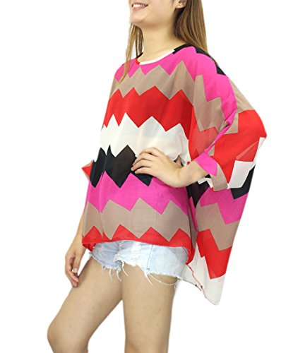 T Shoulder 4 shirttop Donna Color45 3 Jltph Bohemian Chiffon Blouse Off Sleeve Txzv18qw