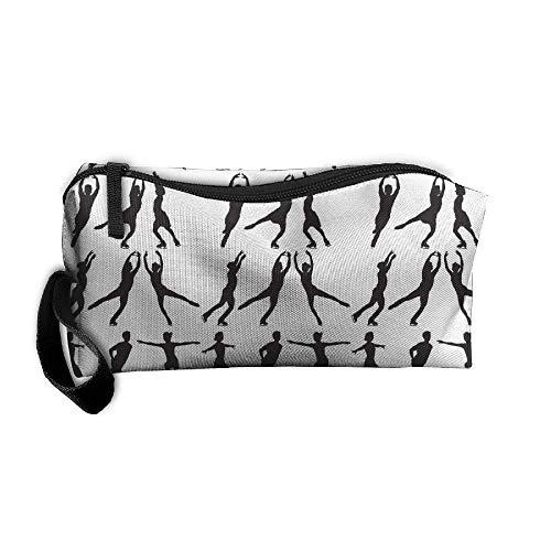 Halloween Figure Skating (kjaoi Cosmetic Bag Figure Skating Brush Pouch Makeup Bag Zipper Wallet Hangbag Carry Case Pen Organizer Wristlet)
