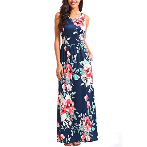 Women Summer Boho Maxi Dress High Waist Sleeveless Long Maxi Dress Flowy Print Tank Dress by Lowprofile Blue