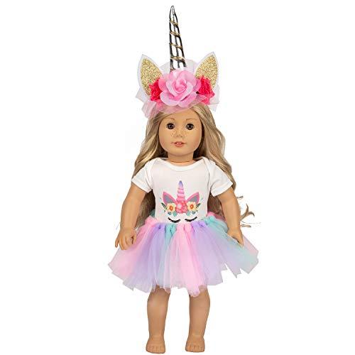 UEECHY Unicorn Doll Clothes, Headband, Tutu for American 18 Inch Girl Doll Accessories | 16