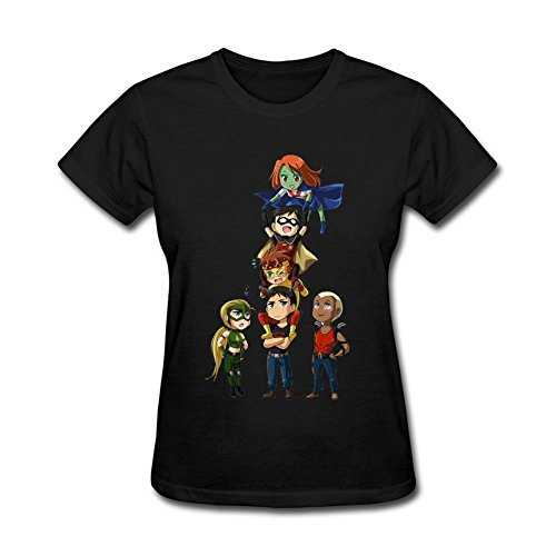 YLINFUN Women's Cute Young Justice Characters T-shirt Size XL Black
