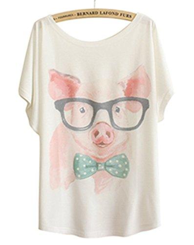 Print Pig - TangB Women's Mr Pig Print T-shirt Tee Top