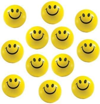 Fusine   Squeeze Stress Reliever Smiley Balls | Soft Balls |  Pack of 12